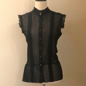 NWT. Black Lace Top